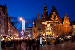 Wroclaw by night. Christmas market at Wroclaw marketplace Stock Photo