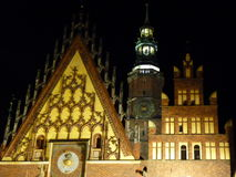 Wroclaw at night. City Hall and the church on the old town square in Wroclaw. Royalty Free Stock Images