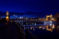 Wroclaw by night (Most Grunwaldzki). Grunwaldzki Bridge is a suspension bridge over the Oder River in Wroclaw Stock Photography