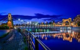 Wroclaw by night (Most Grunwaldzki). Grunwaldzki Bridge is a suspension bridge over the Oder River in Wrocław, Poland Stock Image