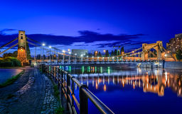 Wroclaw by night (Most Grunwaldzki) Stock Image