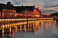 Wroclaw. Oder River quay after sunset Royalty Free Stock Photo