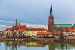 Wroclaw old city panorama Stock Photos