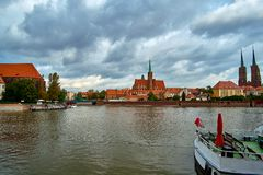 Wroclaw Old Town. Cathedral Island Ostrow Tumski is the oldest part of the city at the sunset. Cathedral of St. John. And Blessed Virgin Mary Church on Island Royalty Free Stock Image