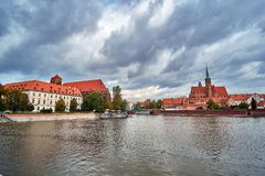 Wroclaw Old Town. Cathedral Island Ostrow Tumski is the oldest part of the city at the sunset. Cathedral of St. John. And Blessed Virgin Mary Church on Island Stock Photo