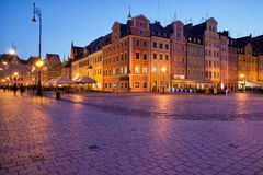 Wroclaw Old Town Market Square at Dusk Royalty Free Stock Image