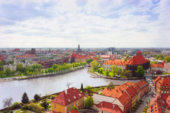 Wroclaw old town. Panorama of Wroclaw historical old town. View to Oder river Royalty Free Stock Photos