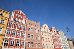 Wroclaw Oude Rijtjeshuizen Stock Afbeeldingen