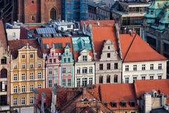 Wroclaw Oude Rijtjeshuizen Stock Afbeelding