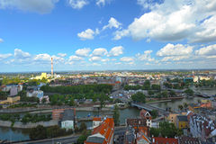Wroclaw - panorama with chimney. View from the church tower, August 2011 Royalty Free Stock Photos