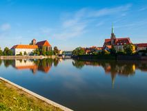 Wroclaw panorama at rive Oder Royalty Free Stock Photo