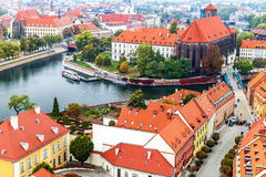 Wroclaw. Picturesque view of famous, old island Tumski and church of our Lady on Piasek from tower of cathedral of St. Johnion. Royalty Free Stock Photography