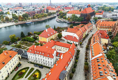 Wroclaw. Picturesque view of famous, old island Tumski and church of our Lady on Piasek from tower of cathedral of St. Johnion.  Royalty Free Stock Image