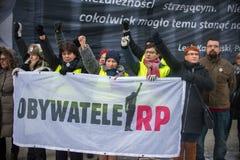 Wroclaw, POLÔNIA - 22 de janeiro de 2017: Demonstração organizada por K Imagem de Stock