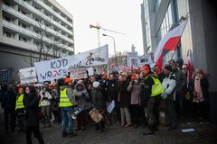 Wroclaw, POLÔNIA - 22 de janeiro de 2017: Demonstração organizada por K Foto de Stock