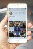 wroclaw POLÔNIA 20, em outubro de 2016: Conta do Instagram de Donald Trump mostrada em Iphone 6 positivo, Imagens de Stock Royalty Free