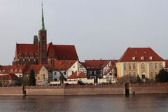 Wroclaw, Poland , across the river. Observing the View of the Town from Across the River stock photo