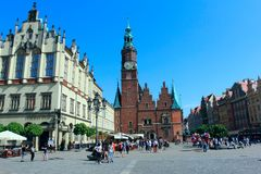 WROCLAW, POLAND - APRIL 29, 2018: gothic town hall in wroclaw, breslau, lower silesia, poland, europe. Travel destination, scenic and famous attraction in the royalty free stock photo