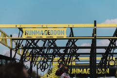 WROCLAW, POLAND - APRIL 8; 2018: Runmageddon - extreme competition in running with many obstacles, logo showWROCLAW, POLAND - APR. WROCLAW, POLAND - APRIL 8 stock photography
