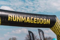 WROCLAW, POLAND - APRIL 8; 2018: Runmageddon - extreme competition in running with many obstacles, logo show stock photo
