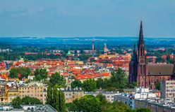 Aerial panoramic cityscape of Wroclaw Stock Photography