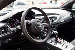 Wroclaw, Poland, August 14, 2016 - Audi A7 s-line, close up of steering wheel. Interior view Stock Photos