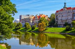 Cityscape with beautiful historic and modern buildings in Wroclaw Stock Photography