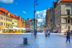 Cityscape of old town Wroclaw Market Square with colorful historical buildings Stock Photo