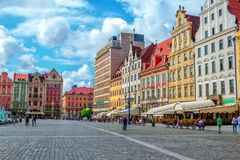 Cityscape of Wroclaw old town Market Square Stock Photography