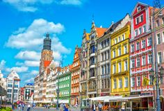 Cityscape of old town Wroclaw Market Square with colorful historical buildings Stock Photos