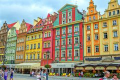 Cityscape of Wroclaw old town Market Square with colorful historical buildings stock photos