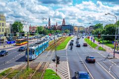 View of Wroclaw city traffic – public transport, motorcycle, trucks and cars Stock Photography