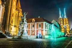 Wroclaw, Poland. Church and monument at night in Wroclaw, Poland Stock Photography