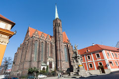Wroclaw, Poland - circa March 2012: Collegiate Church of the Holy Cross and St. Bartholomew at Ostrow Tumski island in Wroclaw,  P Stock Photos