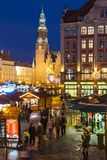 WROCLAW, POLAND - DEC 8, 2017: Christmas market on Market square Rynek in Wroclaw, Poland. One of Poland`s best and largest. Christmas markets, stretching stock photography