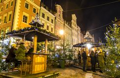 WROCLAW, POLAND - DEC 7, 2017: Christmas market on Market square Rynek in Wroclaw, Poland. One of Poland`s best and largest. Christmas markets, stretching stock images