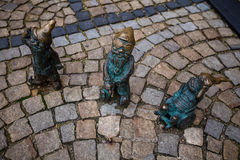 Wroclaw, Poland - 15. December 2015.  Photo of one of the sculpture of dwarfs (gnomes)  from fairy-tale made by Tomasz Moczek. Royalty Free Stock Photography