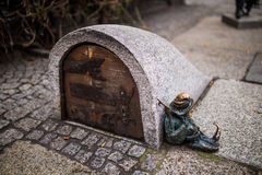 Wroclaw, Poland - 15. December 2015.  Photo of one of the sculpture of dwarfs (gnomes)  from fairy-tale made by Tomasz Moczek. Stock Image
