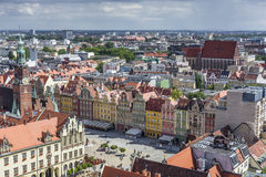WROCLAW, POLAND - JULY 07, 2016: Scenic summer aerial panorama o Stock Photography