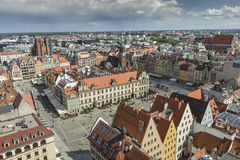 WROCLAW, POLAND - JULY 07, 2016: Scenic summer aerial panorama o Royalty Free Stock Photo