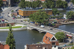 WROCLAW, POLAND - JULY 07, 2016: Scenic summer aerial panorama o Stock Photos
