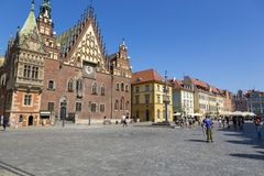 Town Hall Building on the Market Square of Wroclaw, Poland. Wroclaw, Poland - July 09, 2018: Town Hall Building on the Market Square of Wroclaw, Poland royalty free stock images