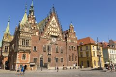 Town Hall Building on the Market Square of Wroclaw, Poland. Wroclaw, Poland - July 09, 2018: Town Hall Building on the Market Square of Wroclaw, Poland stock photos