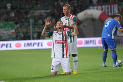 WROCLAW, POLAND - July 18:UEFA Europa League, Dudu thanking God for win, Slask Wroclaw vs Rudar Pljevlja on July 18:, 2013 in Wroc Royalty Free Stock Images