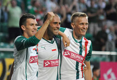 WROCLAW, POLAND - July 18:UEFA Europa League, Paixao after score a goal, Slask Wroclaw vs Rudar Pljevlja on July 18:, 2013 in Wroc Stock Photos