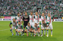 WROCLAW, POLAND - July 18:UEFA Europa League, Slask Wroclaw team, Slask Wroclaw vs Rudar Pljevlja on July 18:, 2013 in Wroclaw, Po. Land royalty free stock photo