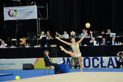 The World Games 2017 in Wroclaw, Poland. WROCLAW, POLAND - JULY 21: The World Games, Hall of The Century, first day of competition rhythmic acrobatics, Ayshan royalty free stock images