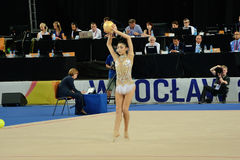 The World Games 2017 in Wroclaw, Poland. WROCLAW, POLAND - JULY 21: The World Games, Hall of The Century, first day of competition rhythmic acrobatics, Ayshan stock photography