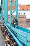 Love padlocks on Tumski Bridge, Ostrow Tumski, Wroclaw, Poland. WROCLAW - POLAND, JUNE 12, 2017 : Love padlocks on Tumski Bridge, Ostrow Tumski. The bridge is Royalty Free Stock Photography