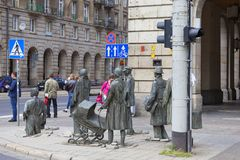 The Monument of An Anonymous Passerby, sculpture by Jerzy Kalina, Wroclaw, Poland. WROCLAW - POLAND, JUNE 13, 2017 : The Monument of An Anonymous Passerby Royalty Free Stock Image